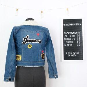 Indigo Rein Jackets & Coats - Sherpa Denim Jacket w/ Patches!